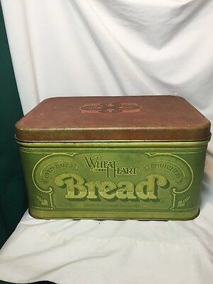 Vintage Wheat Heart Bread Box Tin Hinged Green Storage Collectible