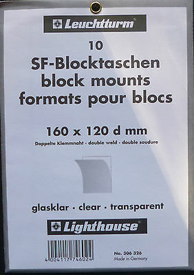 LIGHTHOUSE STAMP MOUNTS Block Size 160 x 120d mm CLEAR Pack 10 - Ref No 306 326