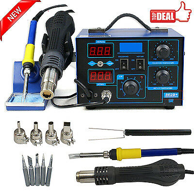 2in1 Soldering Rework Stations SMD Hot Air & Iron Desoldering Welder ESD 862D+ T