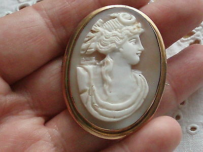 Large Antique Victorian 9Ct Gold Carved Shell Cameo Brooch-Diana The Huntress