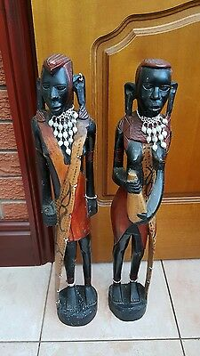 """antique/vintage African carved wood figures huge 26 and 25"""" tall!"""