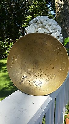 Vintage Antique Double Dragon Brass Round Bowl Plate Chinese Asian Signed Art