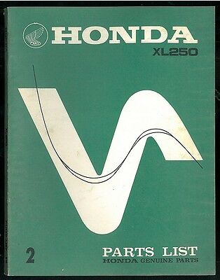 Parts List HONDA XL 250 Motosport 1973 / 1974 Catalogue des pièces Manuel Manual