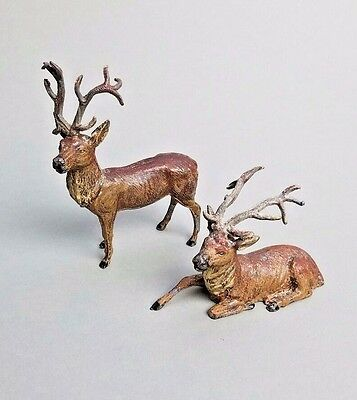 2 Antique Vintage German Lead Metal Reindeer Christmas Putz Stag Deer Figures