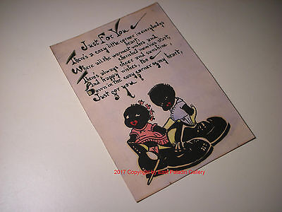 "Vintage Black Americana Hand Painted Valentine Card - ""Just For You"""