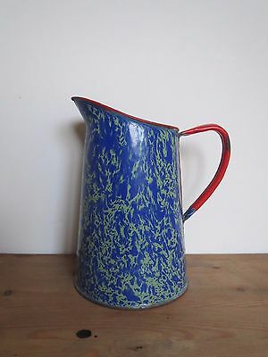 Antique French end of day swirl graniteware enamelware jug small pitcher
