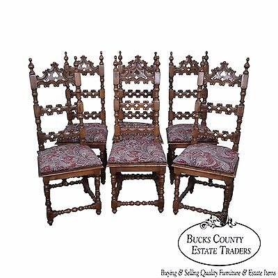 Quality Set of 6 Solid Mahogany Walnut Spanish Colonial Carved Dining Chairs