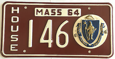 1964 MASSACHUSETTS HOUSE License Plate Mint unissued low number 146 ceramic seal