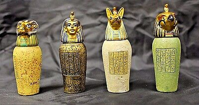 Egyptian Canopic Jars A covered Urn used in Ancient Egyptian Set of 4