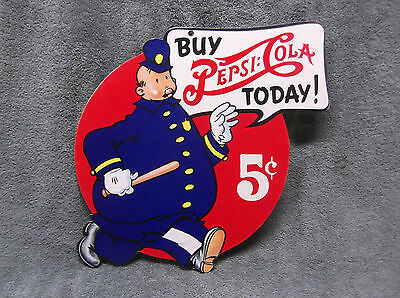 Vintage 1950's Pepsi Cola Double Dot Pete the Keystone Cop Cardboard Sign 2 Side