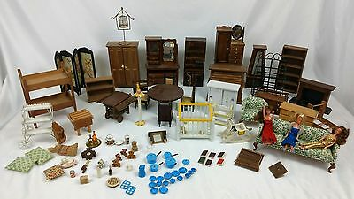 Lot of Vintage Doll House Wood Furniture & Accessories Used