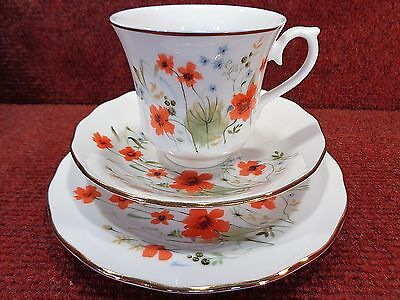"Pretty ROYAL VALE  Red Poppy and Blue Floral "" CARMINA "" Tea Trio"