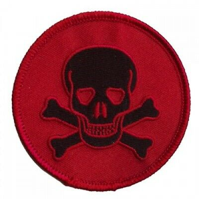SKULL PATCH *BLACK ON RED* -  outlaw biker punk heavy metal psychobilly