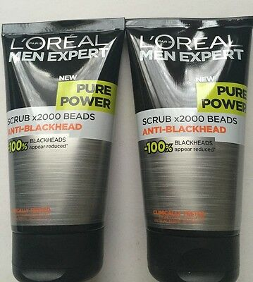 2x L'oreal Men Expert Pure Power Scrub x2000 Beads Anti-Blackhead 150ml Each