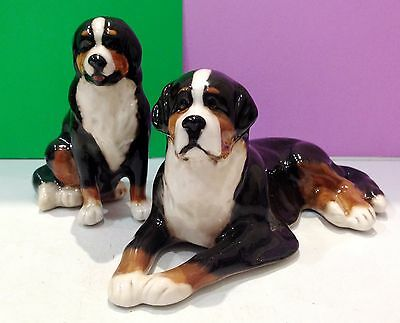 Bernese Mountain Dogs porcelain figurines realistic Souvenirs Russia handmade