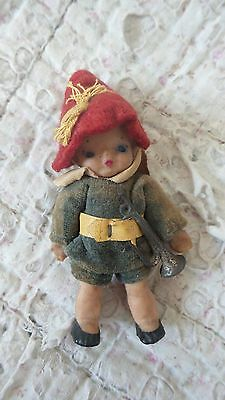 """Vintage 3.5"""" German Small Rubber Doll Felt Alpine Outfit and Metal Bugle"""