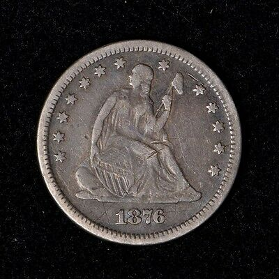 1876 25C Seated Liberty Silver Quarter Dollar Nice Circulated Us Type Coin