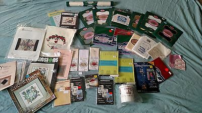 Huge Lot Craft Cross Stitch Embroidery Needlepoint Kits Supplies Booklets Fabric