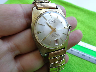 Gents Vintage 1970`s ? Gold Rolled Plated Watch Hudson Calendar Automatic