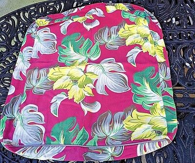 Vintage Barkcloth Tropical Flower & Leaf  Pillow Cover with Snap Closure at Back