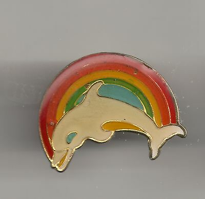 Vintage Dolphin with Rainbow background old enamel pin