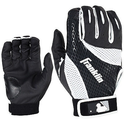 Franklin 2nd Skinz Adult Baseball/Softball Batting Gloves - Black/White - Large