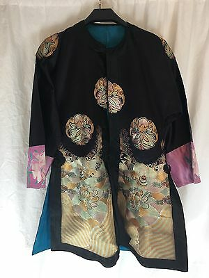 Chinese Jacket/ Robe Embroidery. Early 20th Century Black, Bats, Flowers