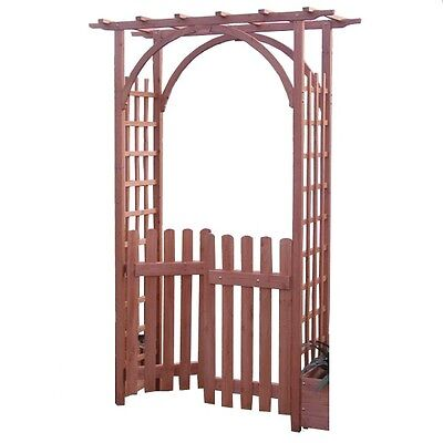 Wooden Garden Arch with Wooden Gate Outdoor Patio Decor Plants Climbing Roses