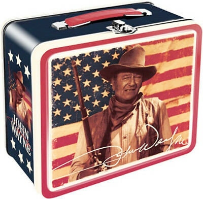 John Wayne and American Flag Western Photo Large Carry All Tin Tote Lunchbox NEW