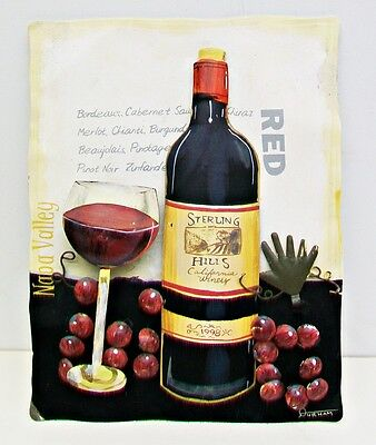 STERLING HILLS California Winery 1998 TIN TOLE  3D WALL ART Signed DURHAM