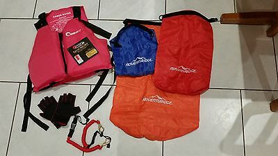 Kayak accessories NEW! - PFD; gloves; 3 waterproof bags; 2 coil cables