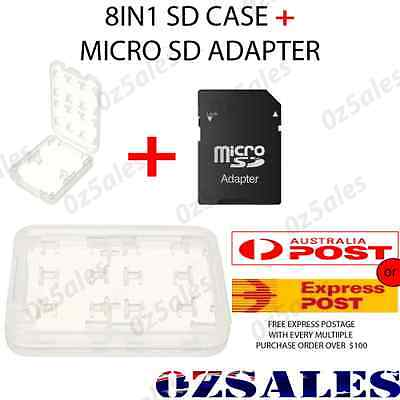 8 in 1 Micro + Adapter SD TF SDHC Memory Stick Card Storage Holder Box Case