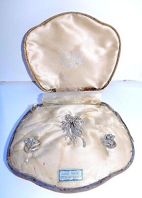 New Antique Filigree Sterling Silver AmLee Earrings & Pin Set Blue Stones #R43