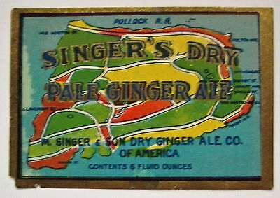 SINGER'S Pale Ginger Ale Soda Label Paterson NJ Map - FREE Shipping