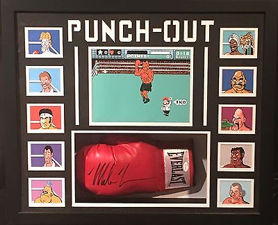Mike Tyson Framed Signed Boxing Glove Punchout Characters With JSA Coa