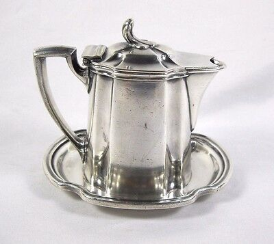 Nyc New York Central Lines 6 Oz. Silver Covered Syrup W/ Plate  Reed & Barton