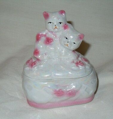 Porcelain Cats Pink & White Trinket Box Collectible