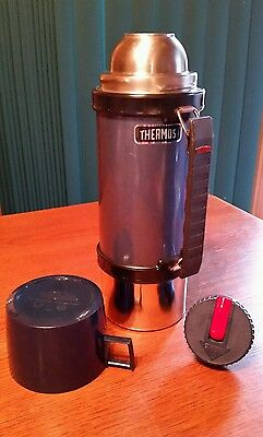 Vintage 1984 Blue Metal Thermos King Seeley Thermos 1 Litre 1.05 Quart # 2480