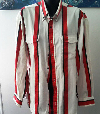 Texas Cotton Mens Long Sleeve Cotton Cowboy SHirt Made in Texas Red Stripe LARGE