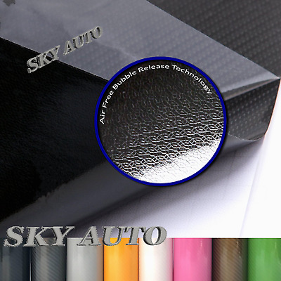New 8D Black Shinny GLOSSY Carbon Fiber Vinyl Wrap Sheet With Air Release