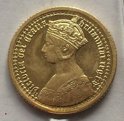 1847 Queen Victoria Gothic Pattern 9 Carat Gold Sovereign - Hallmarked