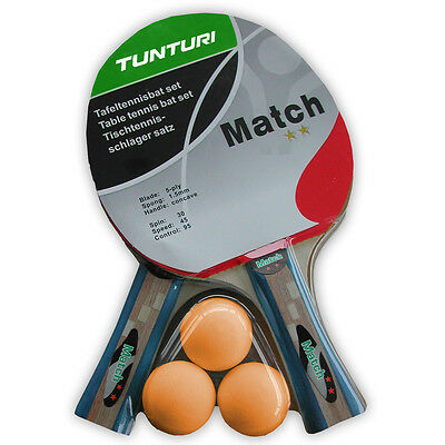 Tunturi Match 5 Ply Table Tennis Bat Paddle and Ping Pong 30mm Balls Set