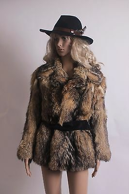 Stunning  Vintage 70's Real Timberwolf Coyote  Fur Coat Size Small 8 To 10
