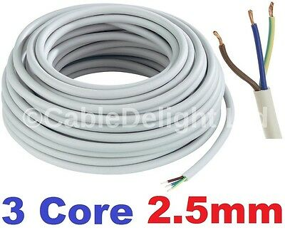 3 Core 2.5mm 25 Amp PVC Flexible Cable 1m 100m Round Flex Electrical Wire WHITE