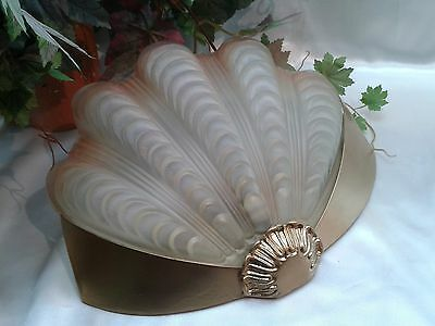 Very Rare Brass Art Deco Chrome Frosted Glass Odeon Style Clam Shell Wall Light