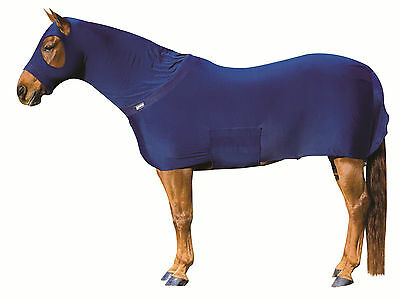 Roma Stretch Full Body Rug/Hood,Cob Size,Navy,Fleece Neck and Nose