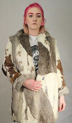 Vintage 70's Grey Patchwork Coney Real  Fur Hooded Coat Size Small 6 To 8