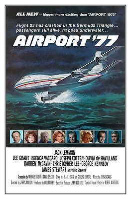 AIRPORT 77 LAMINATED MINI A4  MOVIE POSTER christopher lee