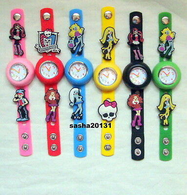 Monster High  Jibbitz Band Watch  &  8  Character Charms, Brand New