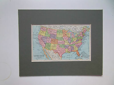 UNITED STATES MAP-VINTAGE- DATED 1920 in 10in x 8in MOUNT